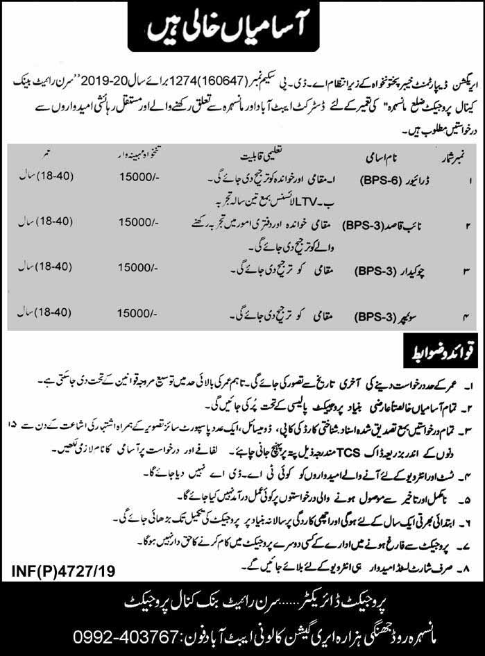 Irrigation Department Khyber Pakhtunkhwa Latest Jobs 2019
