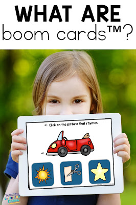 What are Boom Cards title image for pinning with girl holding and iPad with rhyming boom card