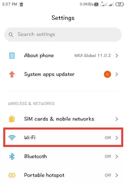 Wi-Fi settings