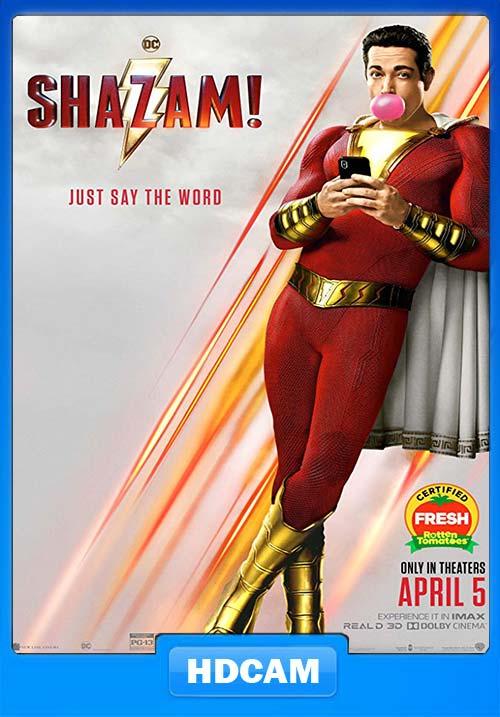 Shazam 2019 720p HDCAM x264   480p 300MB   100MB HEVC Poster