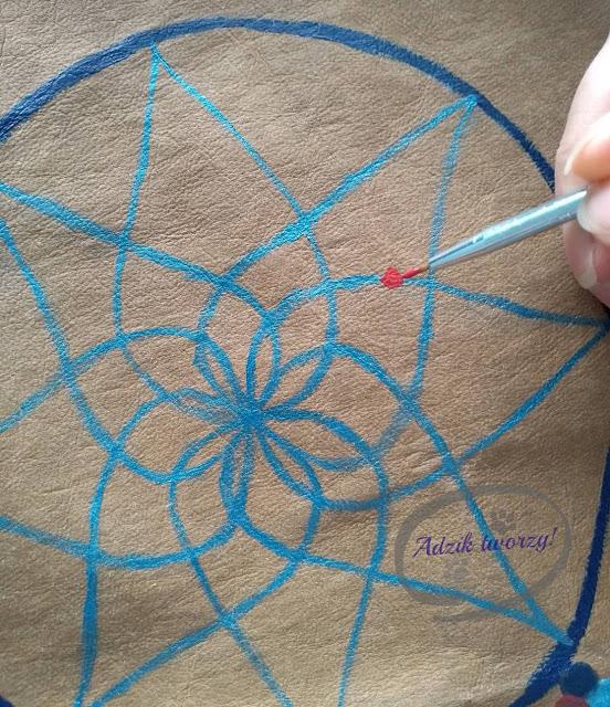 malowanie farbami do tkanin DIY łapacz snów