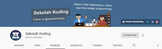 Channel Youtube untuk Belajar Bahasa Pemrograman, sekolah koding,