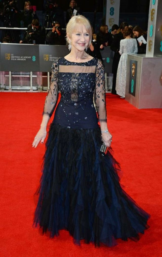 Helen Mirren in a Jacques Azagury ruffle dress at the BAFTA 2014