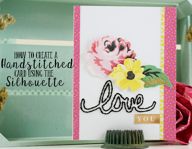 How to create a handstitched card using the Silhouette Came #cardmaking #SilhouetteCameo #Papercrafting