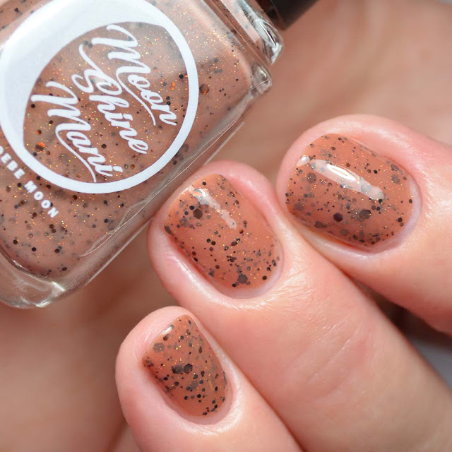 brown nail polish with glitter