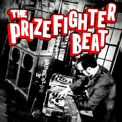 "The cover of this single features a DJ spinning 45s next to a set of speakers with ""Prizefighters Hi-Fi"" inscribed on the side."