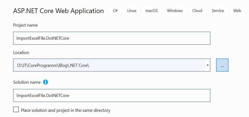 Creating an ASP.NET Core application