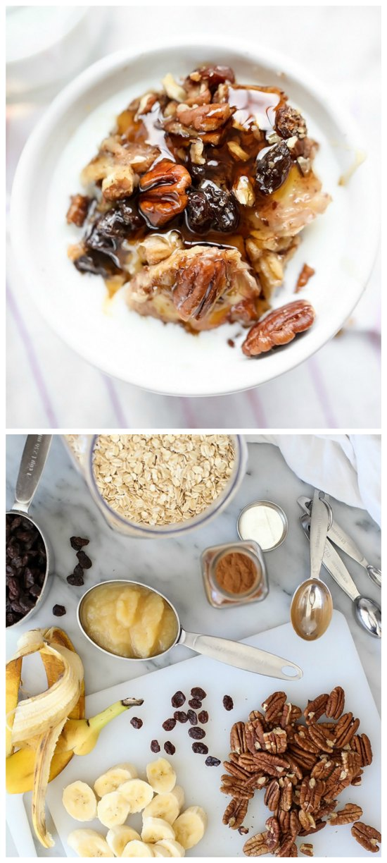 Slow Cooker Baked Oatmeal with Bananas and Nuts from FoodieCrush featured on SlowCookerFromScratch.com