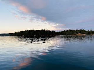 A view at dusk of San Juan Island from Henry Island.