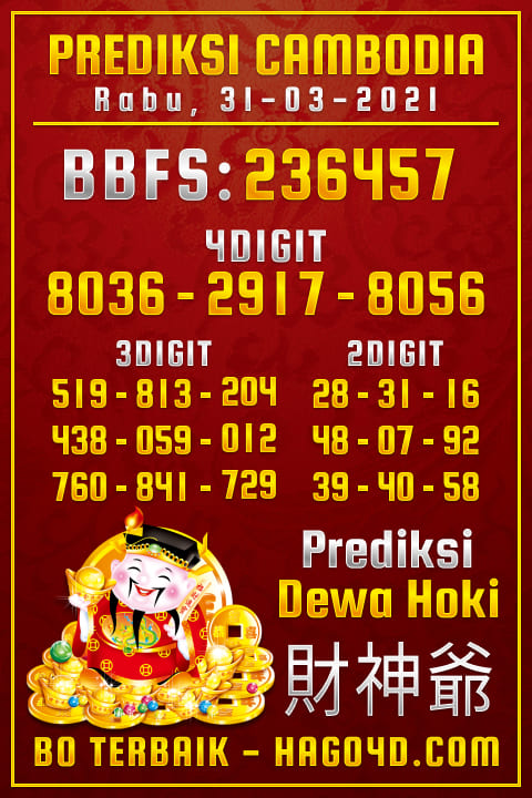 Prediksi Dewa Hoki - Rabu, 31 Maret 2021 - Prediksi Togel Cambodia
