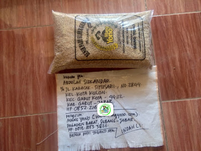 Benih padi yang dibeli    ABDULAH SUKANDAR Garut, Jabar.  (Sebelum packing karung ).