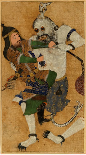 Ghoul attacking a victim from the Persian manuscript The Shahnemeh.