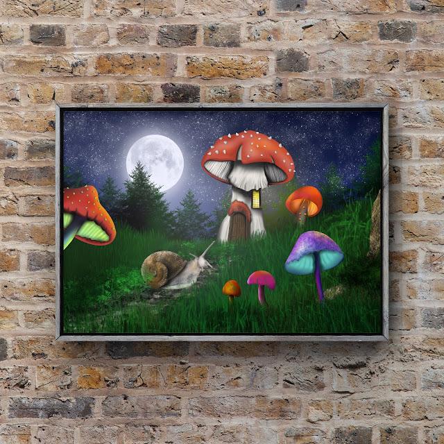 the night garden art by mark taylor, snail, mushrooms,