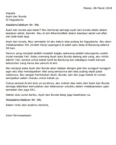 Contoh Surat Pribadi untuk Orang Tua (via: suratresmi.id)