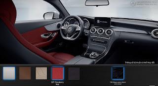Nội thất Mercedes C300 Coupe 2018 màu Đỏ Cranberry 227