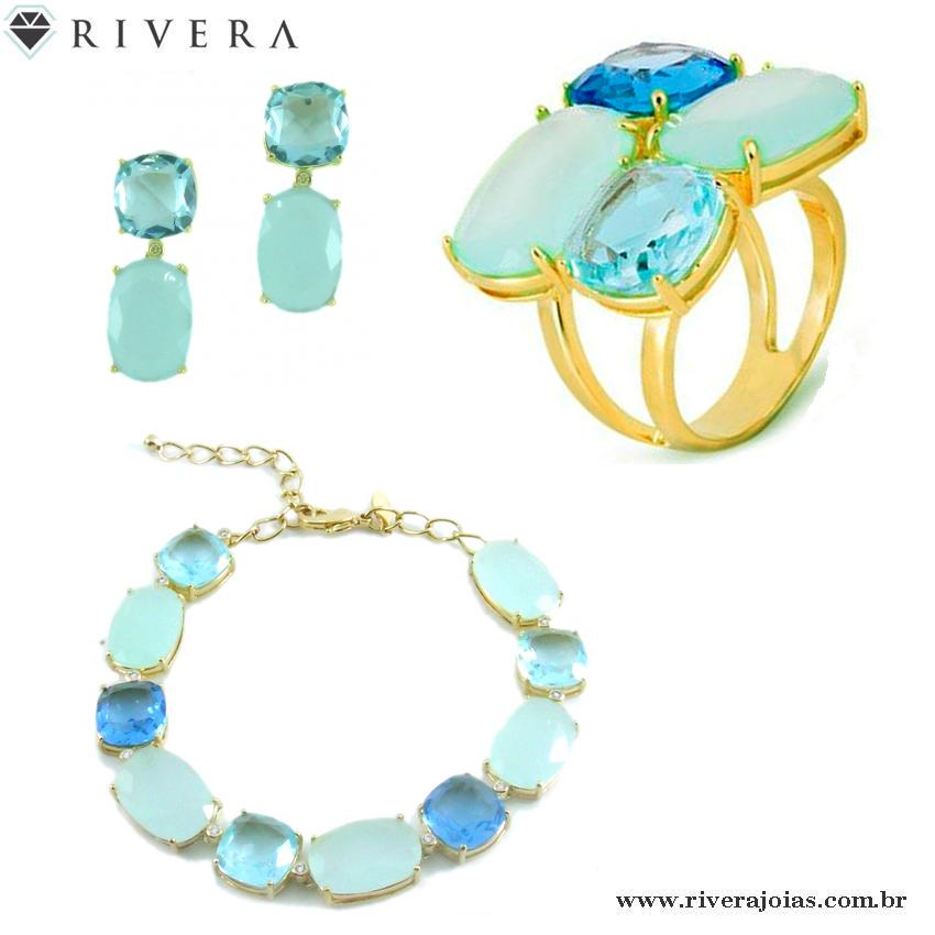 Anel folheado a ouro 18k  Com pedras naturais azuis (Cristais de quartzo)