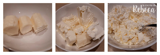 Receta de bolitas de queso con pistachos y arándanos: mezcla de quesos
