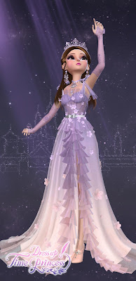 Pink and purple Wisteria Capriccio gown with matching tiara