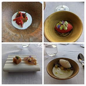 Collage of desserts on the Michelin star menu at House Restaurant at the Cliff House Hotel in Ardmore