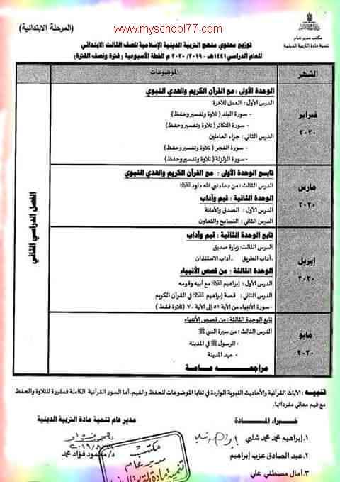 توزيع منهج التربية الاسلامية للصف الثالث الابتدائى ترم ثانى2020- موقع مدرستى
