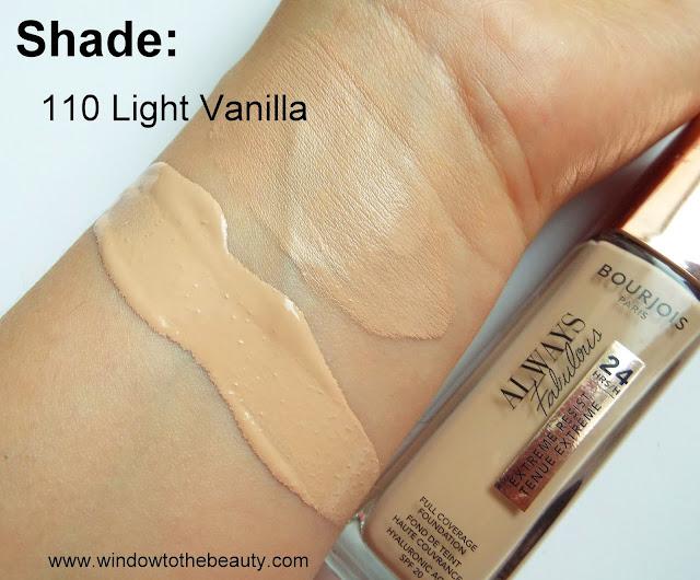 Bourjois Always Fabulous 110 Light vanilla swatches