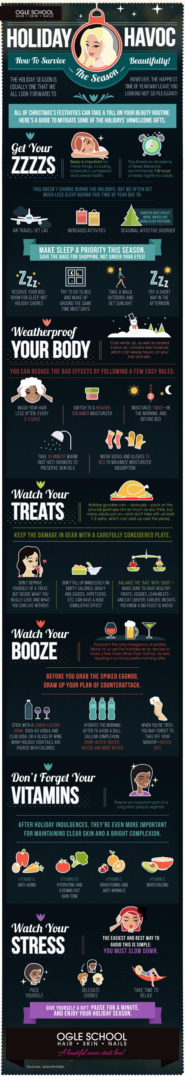 Holiday Havoc: How To Survive The Season Beautifully #infographic #Beauty #infographics #Holiday Havoc #Health & Beauty