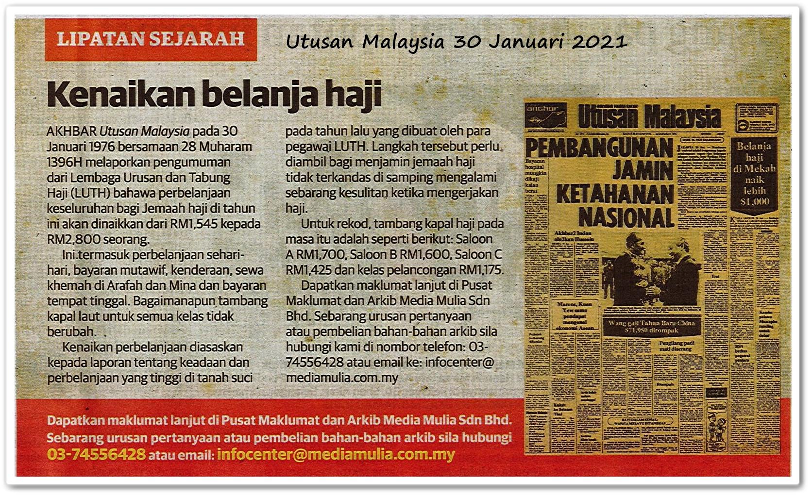Lipatan sejarah ; Kenaikan belanja haji - Keratan akhbar Utusan Malaysia 30 Januari 2021