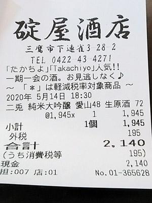 碇屋酒店 2020/5/14 のレシート