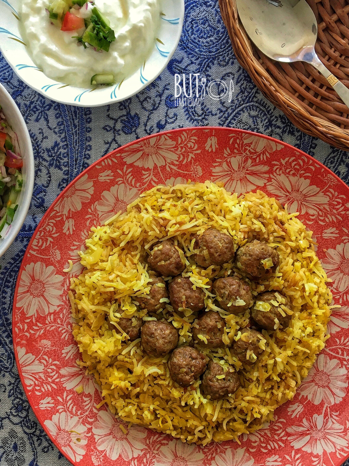 Kalam Polo | Persian Cabbage Rice with Meatballs