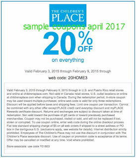 Childrens Place coupons april 2017