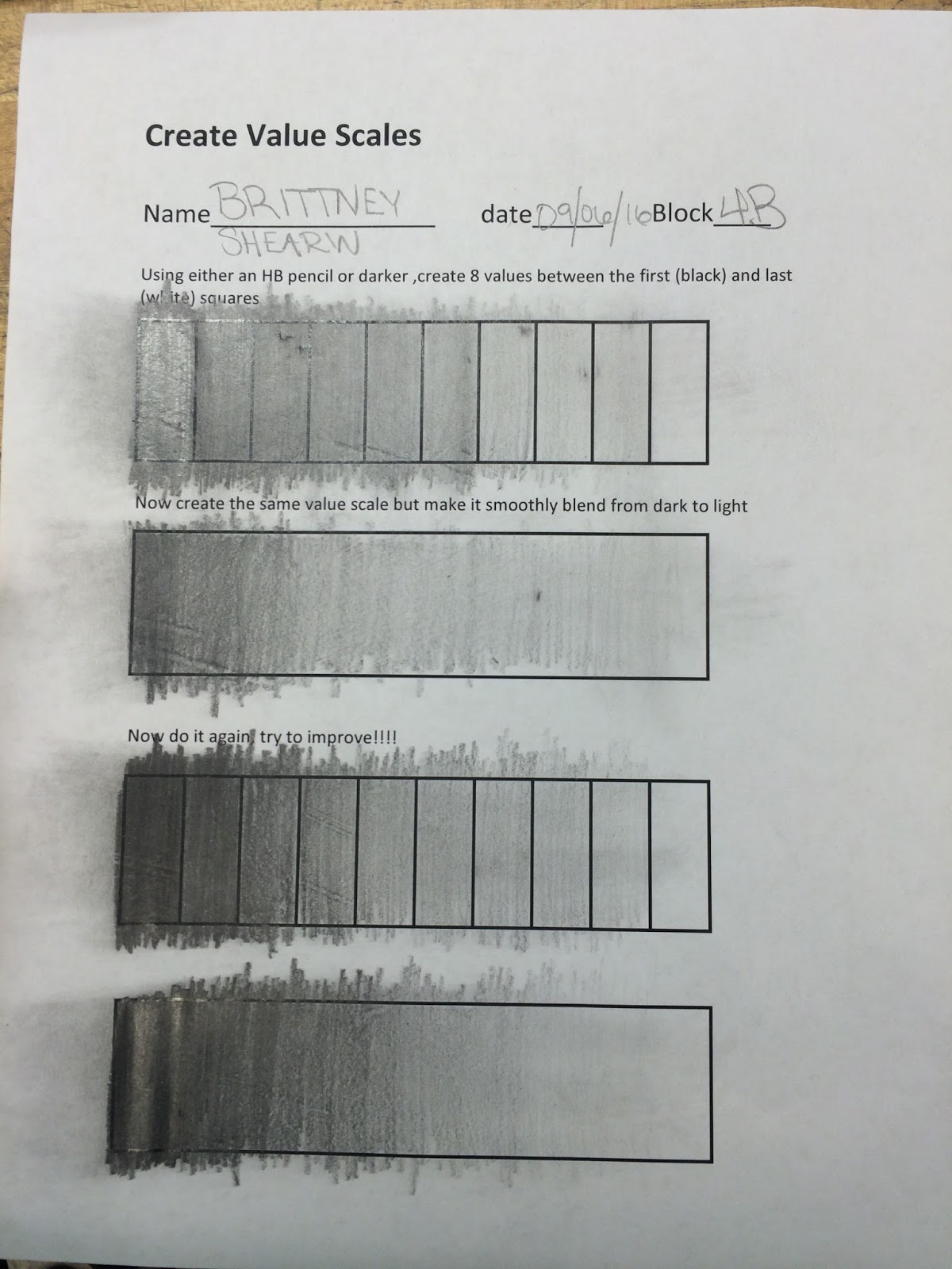 Brittneys Art Foundations Shading Value Worksheets