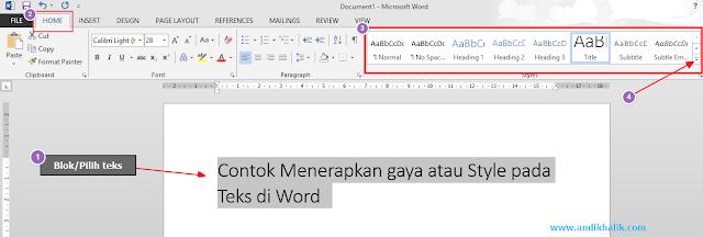 Cara Menerapkan Gaya Cepat (pada judul, judul, teks, dan daftar) di Microsoft Word