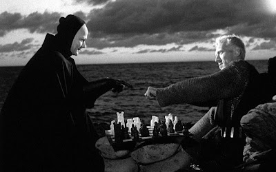 Man von Sydow as the Crusading Knight Antonious Block fights death in the seventh seal, directed by Ingmar Bergman