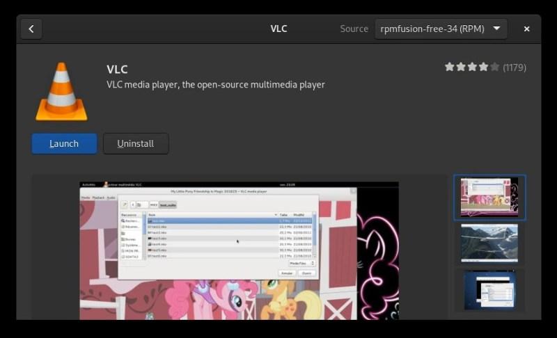 VLC en el centro de software de Fedora