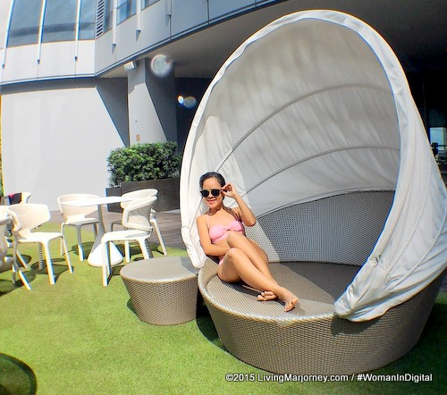 Lounging at Ascott BGC pool area
