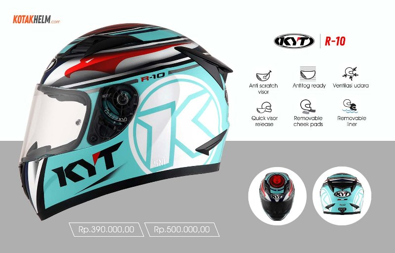 KYT Full Face R10 motif aquamarine