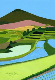 lukisan pemandangan sawah indah