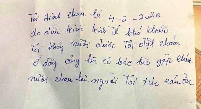 Vụ bé gái 8 tháng tuổi bị bỏ rơi trong thùng xốp: Bức thư viết tay có nội dung gì?