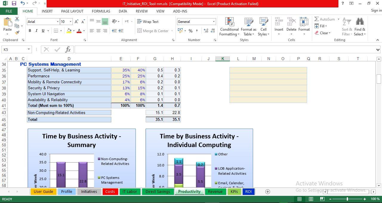 User Productivity Benefits worksheet