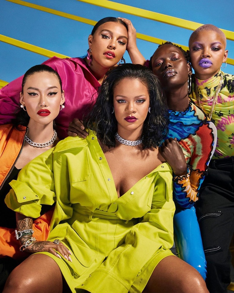 Jessie Li, Rihanna, Paloma Elsesser, Ajak Deng and Slick Woods front Fenty Beauty Pro Filt'r Hydrating Foundation campaign