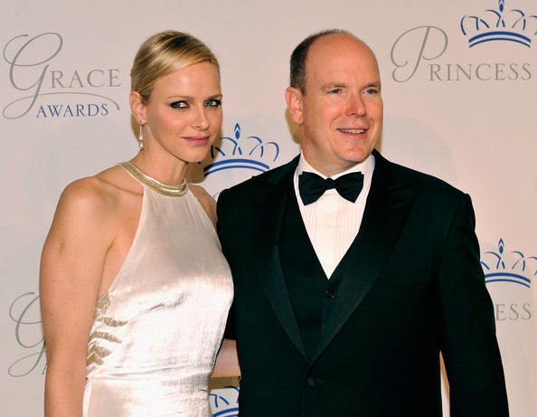 Princess Charlene was dressed in an ivory satin halterneck gown, with her blonde hair pulled back at Princess Grace awards gala