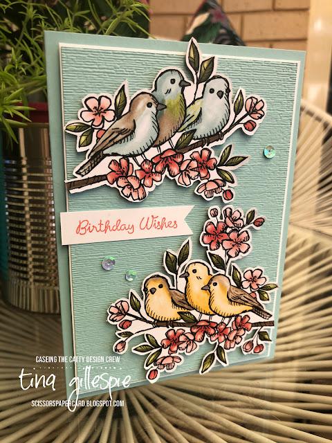 scissorspapercard, Stampin' Up!, CASEing The Catty, Varied Vases, Bird Ballad DSP, Subtle 3DEF
