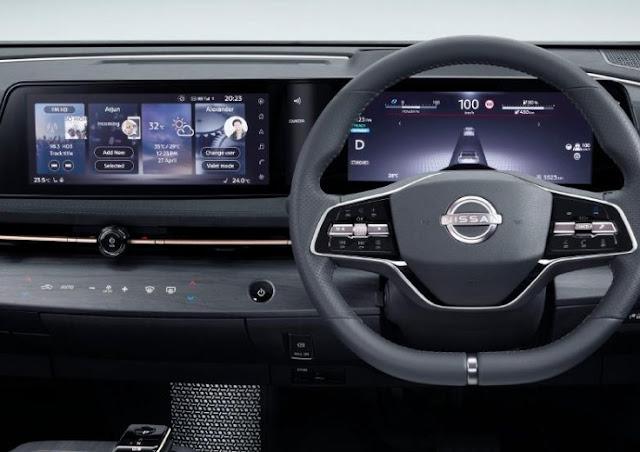 nissan-ariya-entertainment-screen-displays-features-and-steering-wheel