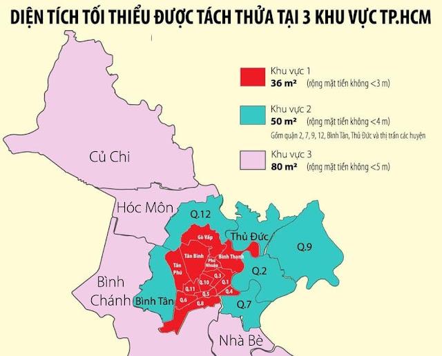 Diện tích tối thiểu để tách thửa tp Hồ Chí Minh