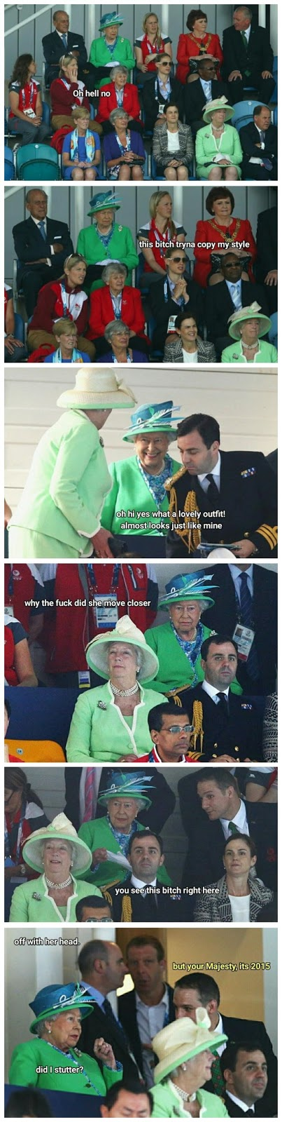 Funny Queen Elizabeth Green Outfit Meme Picture