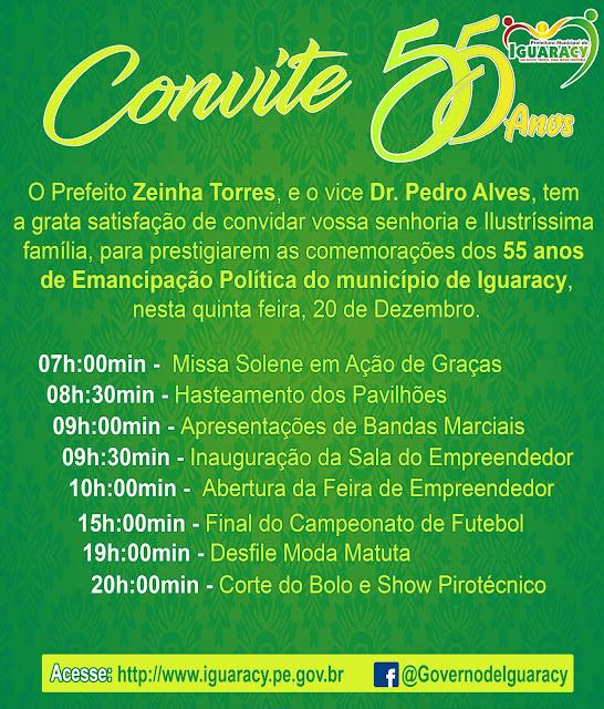 Iguaracy comemora 55 anos de emancipação política na próxima quinta feira