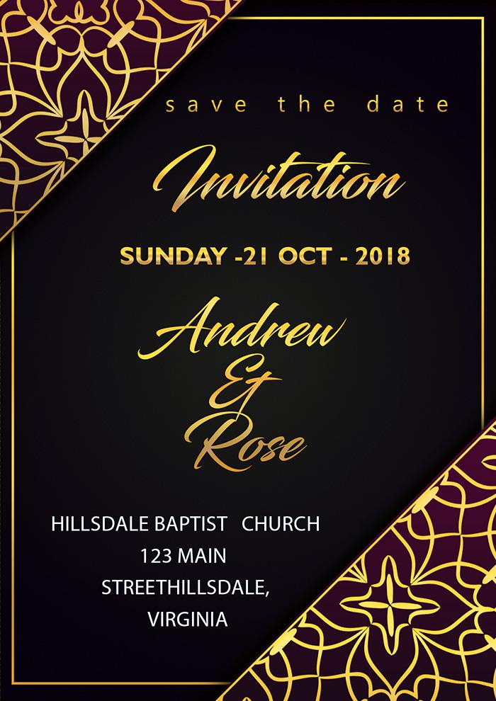 Wedding Invitation Card Royal With Gold Border Corner
