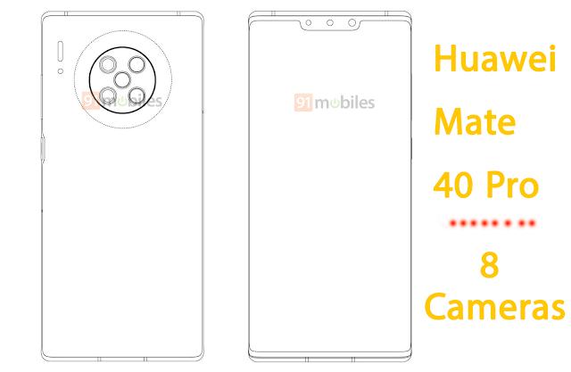 براءة إختراع من هواوي: Mate 40 Pro سيأتي ب8 كاميرات
