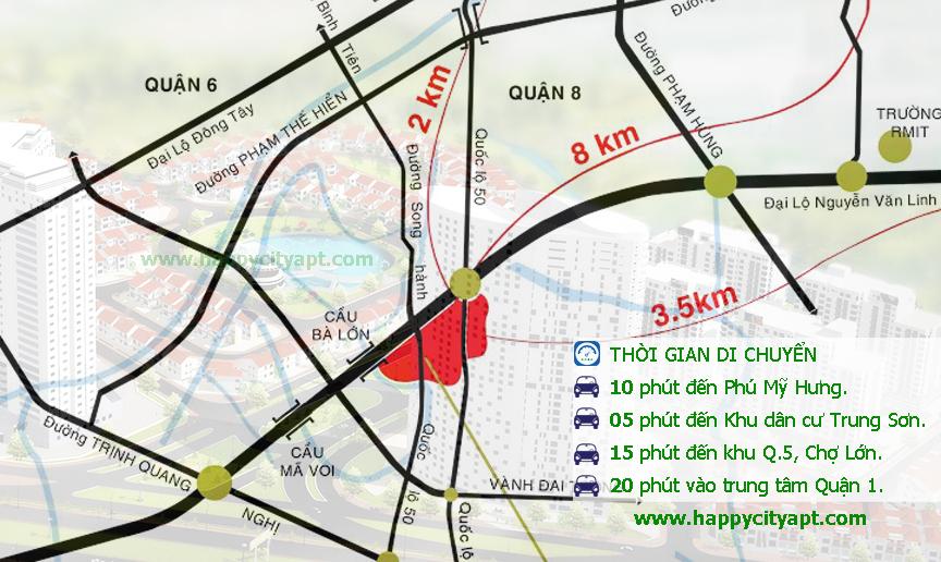 Bản đồ vị trí căn hộ hạnh phúc - Happy City