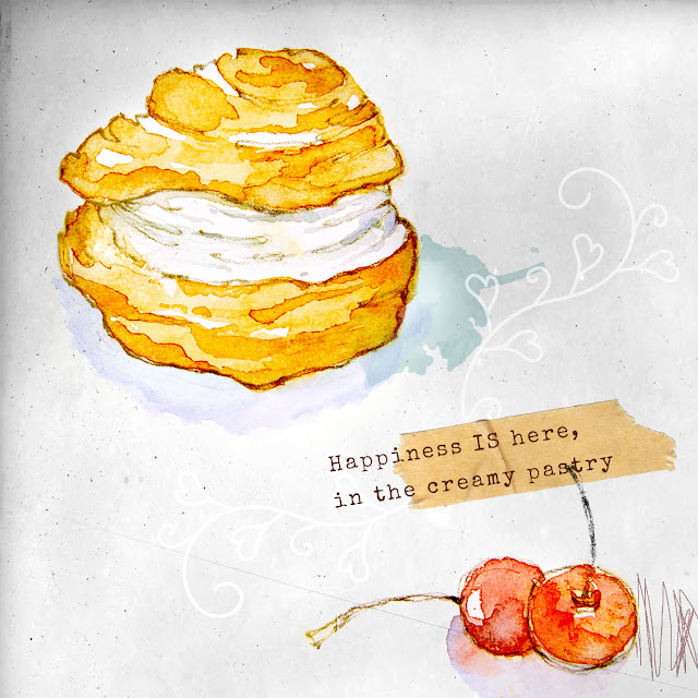 food illustration pastry watercolor